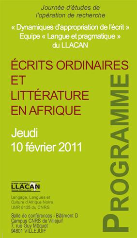 Ecrits ordinaires et littérature en Afrique