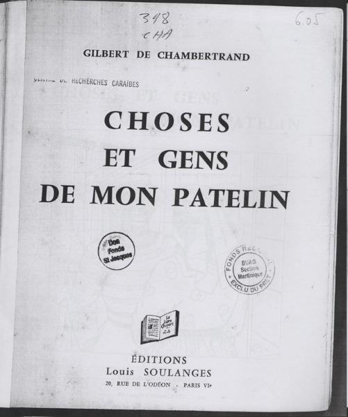 Choses et gens de mon patelin de Glibert de Chambertrand
