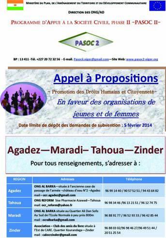 Appel à Propositions Régional du PASOC II