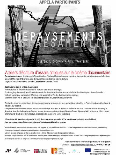 ATELIERS D'ECRITURE D'ESSAIS CRITIQUES SUR LE CINEMA [...]