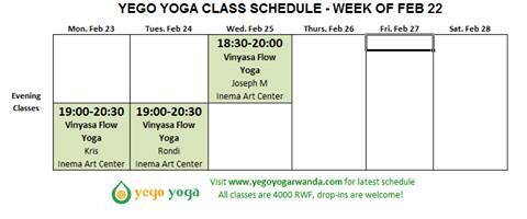 Yego Yoga schedule