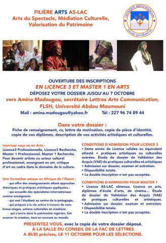 Inscription en licence 3 et Master en Arts