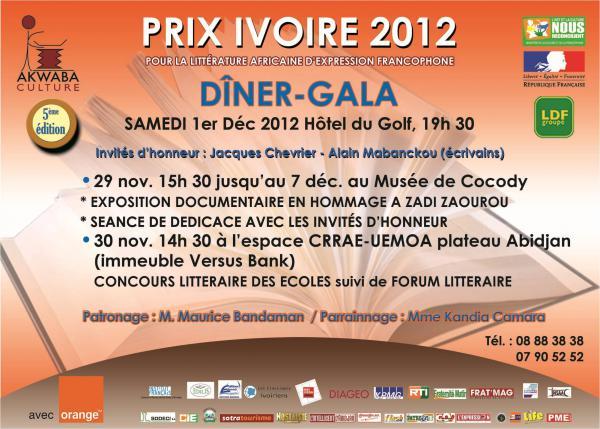 Prix Ivoire 2012 : Alain Mabanckou et Jacques Chevrier, [...]