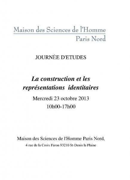 Journée d'études La construction et les représentations [...]