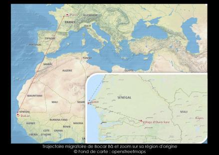 Trajectoire migratoire de Bocar B� et zoom sur sa r�gion d'origine Fond de carte : openstreetmaps